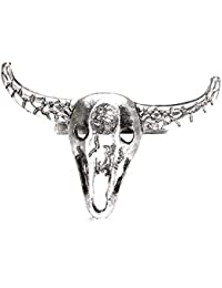 Weinlese-Silber Legierung Stier Kopf Schädel Anhänger Braun Halsketten Lederband