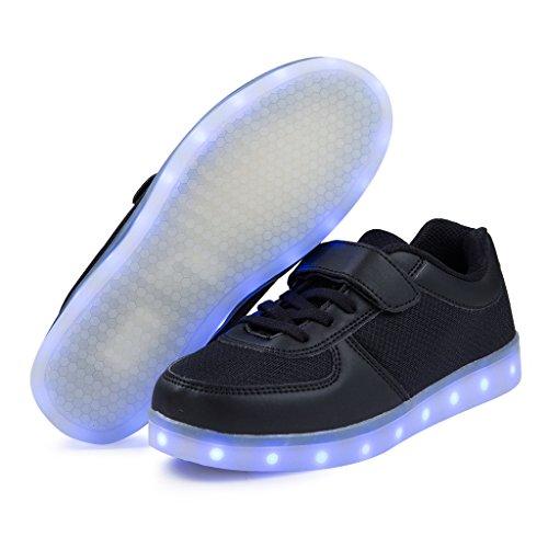 SAGUARO® Jungen Mädchen Turnschuhe USB Lade Flashing Schuhe Kinder LED leuchtende Schuhe mit farbigen Schnürsenkel Schwarz-1