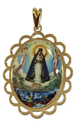 Diamantados of Florida Virgen Caridad del Cobre y los Tres Juanes-Nuestra Señora de la Caridad Yoruba Colgante 18K Chapado en Oro Medalla con 20Inch Cadena