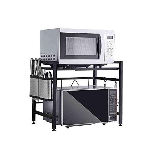 QAZWSX Lagerung Regal, verdickte Teleskop Küche Rack - Mikrowellenherd-Rack - Stand-Multi-Funktions-Reiskocher Ofen Lagerung Lagerung Schwarz (Größe: 43-60x32x46cm)