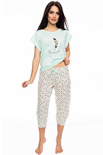 Rossli SAL-PY 1056 Pyjama Set Dame Nachtwäsche gemustert 3/4Hose kurzarm beige-mint