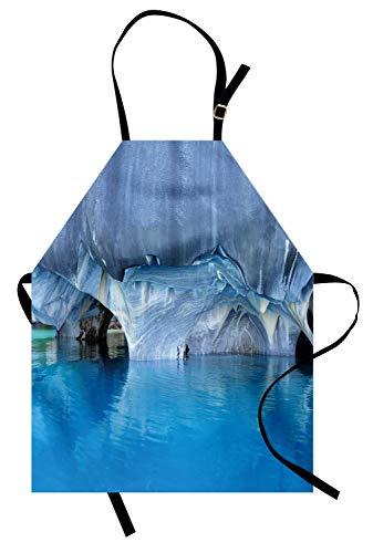 ABAKUHAUS Blau Kochschürze, Marmor Cave General Carrera See in Chile Naturwunder Felsen Azurblaues Wasser, Farbfest Höhenverstellbar Waschbar Klarer Digitaldruck, Weiß ()