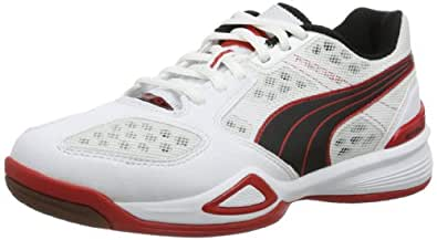 Puma Agilio 102822 Unisex-Erwachsene Hallenschuhe, Weiß (white-black-high risk red 04), EU 39 (UK 6) (US 7)