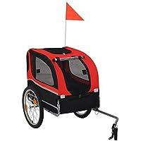 Festnight 10,4 kg Remolque de Bicicleta para Perros,Rojo y Negro1#