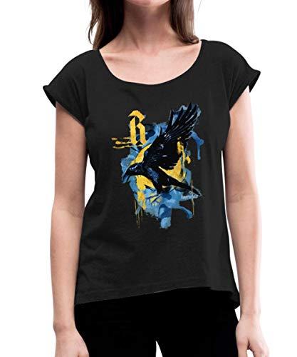 Spreadshirt Harry Potter Haus Ravenclaw Rabe Frauen T-Shirt mit gerollten Ärmeln, L (40), Schwarz (Filme Top Hexerei)
