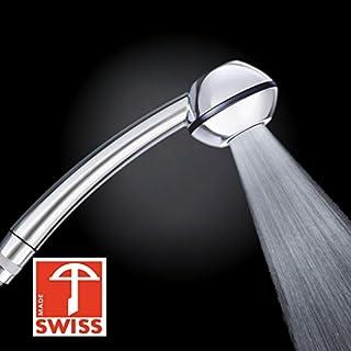 Duschkopf Black Power WOW! Mehr Druck beim Duschen mit Durchlauferhitzer oder im 4. Stock. Handbrause druckaufbauend, verkalkungsfrei, wassersparend, Schweizer Produktion (ohne Softspray-Aufsatz+ohne Zusatzregler wie bei anderen Modellen dieser Brause)