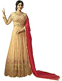 Mrs Women Women's Gown Latest Party Wear Designer Georgette Embroidery Semi Stitched Free Size Salwar Suit Dress...
