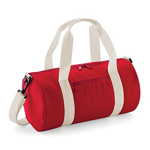 BagBase Borsone in Tela Mini barrel bag 40x20x20cm 12L Classic Red Off White Classic Red/ Off White
