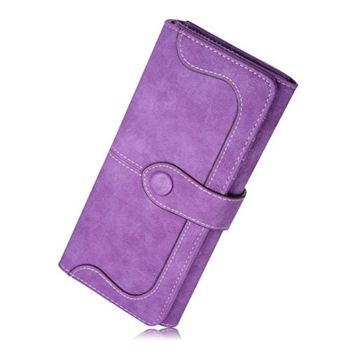 MANGO KING Femmes Long Vintage Leather Suede Portefeuille Portefeuilles (violet)