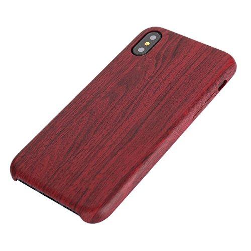 iPhone X Hülle,Fodlon® Mode Holz Korn Weich TPU Telefon Schutzhülle-Tief Rot