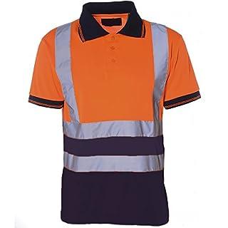 Herren Poloshirt, 2-farbig, Arbeitshemd, mit Reflektoren, hohe Sichtbarkeit, EN471 Gr. X-Large, orange / marineblau
