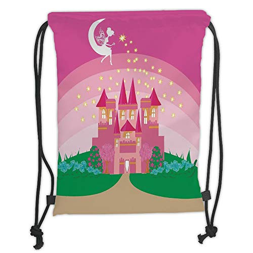 Fashion Printed Drawstring Backpacks Bags,Girls,Magic Fantasy Fairy Tale Princess Castle with Pixie in Sky Fictional Dream Kingdom,Pink Green Soft Satin,5 Liter Capacity,Adjustable String Closure,