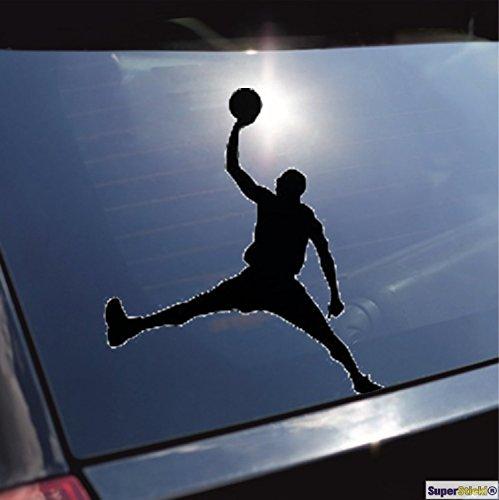 Basketballspieler Korbleger NBA dunk Michael Jordan Aufkleber ca. 20 cm Autoaufkleber Tuningaufkleber von SUPERSTICKI® aus Hochleistungsfolie für alle glatten Flächen UV und Waschanlagenfest Tuning Profi Qualität Auto KFZ Scheibe Lack Profi-Qualität Tuning