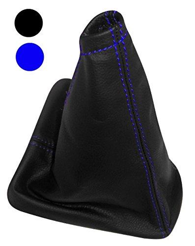 Aerzetix - Schaltsack Schalthebelmanschetten Schalthebelmanschette Schaltbetätigungs Schwarze Farbe 100% Echtes Leder (Blaue Nähten)