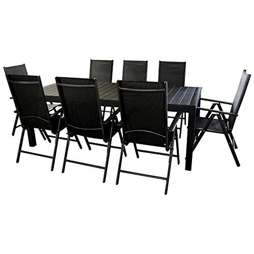Sitzgarnitur Sitzgruppe Gartenmöbel Terrassenmöbel Gartengarnitur - Gartentisch ausziehbar 205/275x100cm, Polywood Tischplatte + 8x Hochlehner, 2x2 Textilenbespannung, 7-fach verstellbar - schwarz