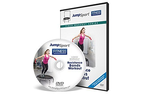 JumpSport Fitness Trampolin Workout DVD - Cardio fokussiert - Widerstandsbänder und Lenker Optionen erhältlich, weiß, 5x5x.1