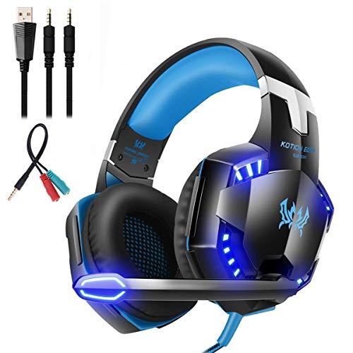 Mengshen Auriculares para Juegos - con micrófono, Control de Volumen y Luces LED geniales - Compatible con PC, computadora portátil, teléfono Inteligente, PS4 y Xbox One Controller, G2000 Blue