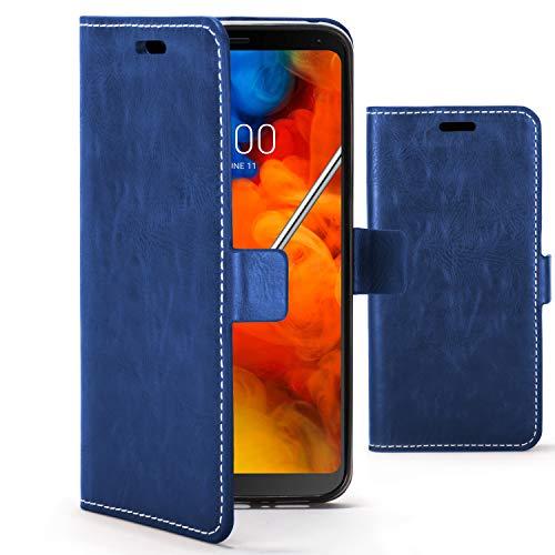 Forefront Cases Premium Flip Case Handyhülle für LG Q Stylus | Handgefertigt & Handgenäht | Multifunktionales Geldbörse & Ständer Design | Doppelter Schutz vor Stößen & Fallenlassen | Blau