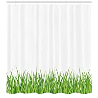 THEHO Green Shower Curtain, Fresh Grass Lawn Horizontal Pattern Nature Outdoors Meadow Lush Gardening Theme, Fabric Bathroom Decor Set with Hooks, 71 inches, Lime Green