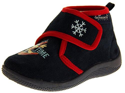 De Fonseca Bambino Blu Marino Fissaggio In Velcro Pantofole Stivali EU 28