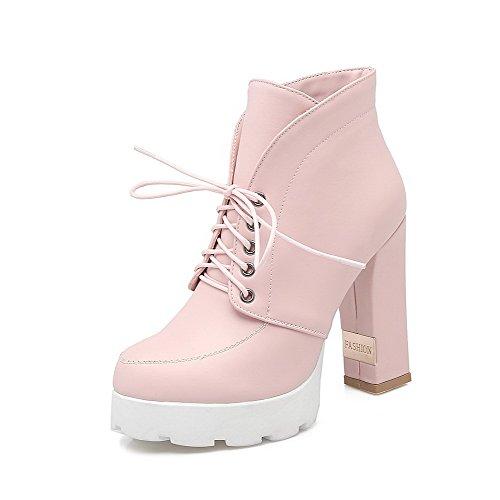 VogueZone009 Damen Hoher Absatz Weiches Material Rein Schnüren Stiefel mit Metalldekoration Pink