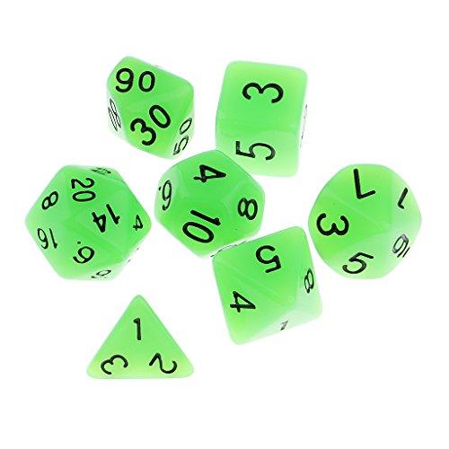 n The Dark Würfel Set D4-D20 für Party Spiel - Grün ()