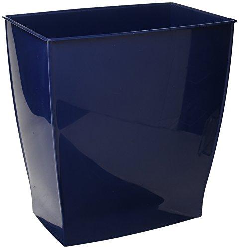 mDesign 2er-Set rechteckiger Mülleimer – ideal als Papierkorb oder Abfalleimer aus robustem Kunststoff – modernes Design für das Badezimmer, Büro oder die Küche – dunkelblau