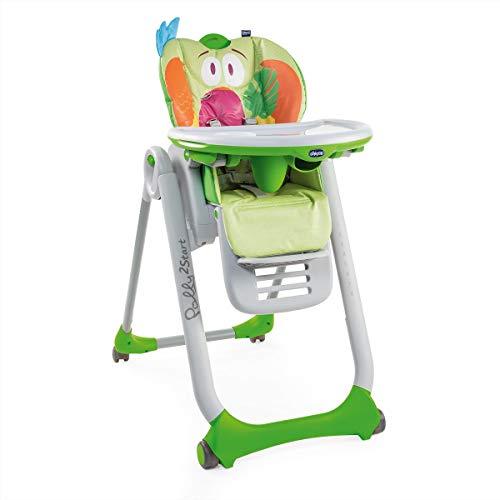 Chicco - Chaise Haute Bébé Polly 2 Start - 4 Roues - Naissance à 3 ans - Parrot