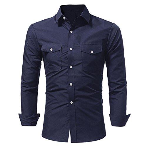 Preisvergleich Produktbild Kragen-Hemd-Männer Herren Langarm-Shirt Fashion Solid Color Button Männlich CasualGreatestPAK TopsMarineL