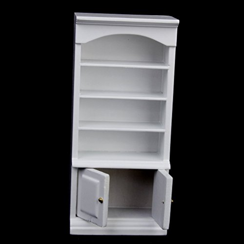 Ulooie 1/12 Dollhouse miniature Furniture Painted Bookcase cabinet (bianco)