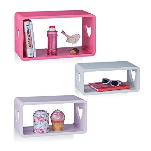 Relaxdays 10021896 set 3 mensole decorative da parete, ripiani con cuoricini, per cameretta bambini, mdf, bianco/viola/rosa