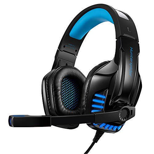 Hunterspider V6 PS4 Headset, 3.5mm Surround Sound Headset mit Mikrofon,Over-Ear Kopfhörer für PS 4, PS vita, Xbox One(s), Laptop, PC, MAC, Tablet, Handy (Blau)