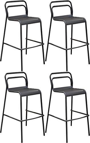 Proloisirs Chaises de Bar en Aluminium EOS (Lot de 4)