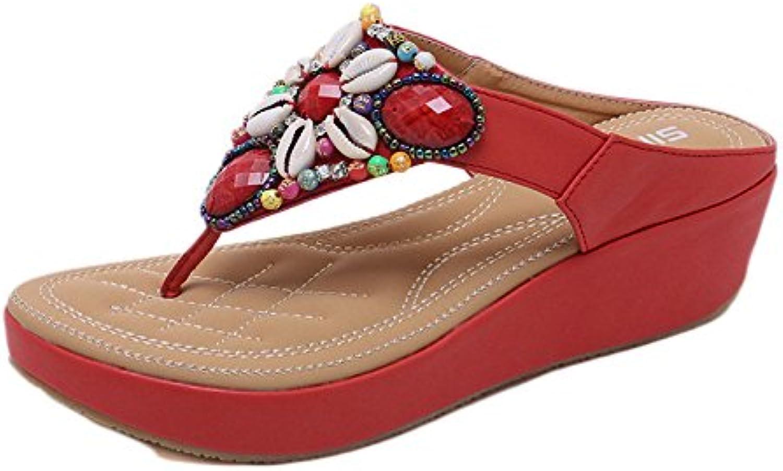Sandalias De Mujer Chanclas Zapatos De Caminata Metálicos Trail Bolas De Abalorios étnica Bohemia con Gran Tamaño