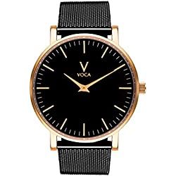 Tempus 40mm Black and Gold with Black mesh strap