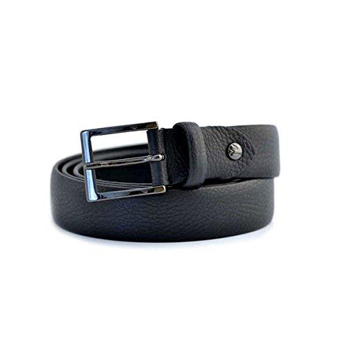 Cintura Fabrizio Mancini da uomo in pelle nera con morsetto che rende accorciabile la cintura, scatola regalo e fibbia in acciaio. Prodotto interamente made in Italy
