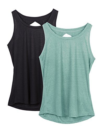 icyZone Damen Yoga Sport Top Rückenfrei Workout Oberteil Fitness Tank Tops ärmellos (Black/Agate Green,L) (Green Heather-crew-t-shirt)