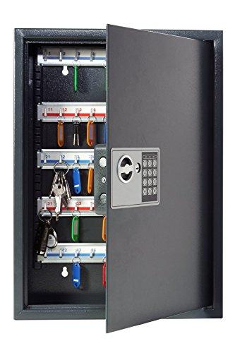 Unbekannt Pavo 8033911 Schlüssel-Kasten/Schrank/Tresor, High security mit elektronische Sicherung, 50 Haken mit seitlichem Schlüsseleinwurf, dunkelgrau (Bücherregal Home-office-möbel)