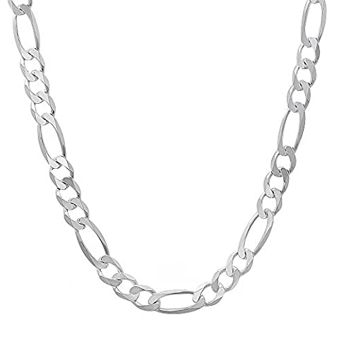 Italian Crafted 3.8mm Solid 925 Sterling Silver Figaro Link Chain,