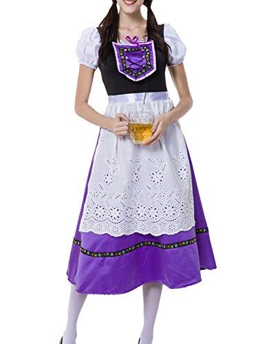 (Trachtenkleid Damen Dirndl Oktoberfest Trachten Kleid Abendkleid Cosplay Partykleid Karnevalskostüme Lila L)