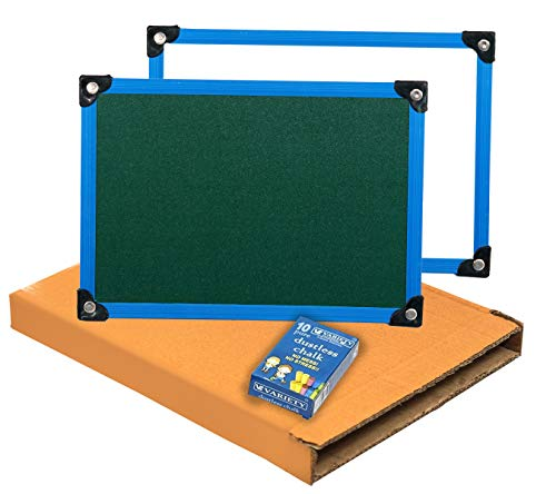 SEPAL 2 in 1 Double Sided Whiteboard and Slate with Chalk for Kids (13.75 X 9.75 inch) (Slate with Chalk Board) Colour May Vary