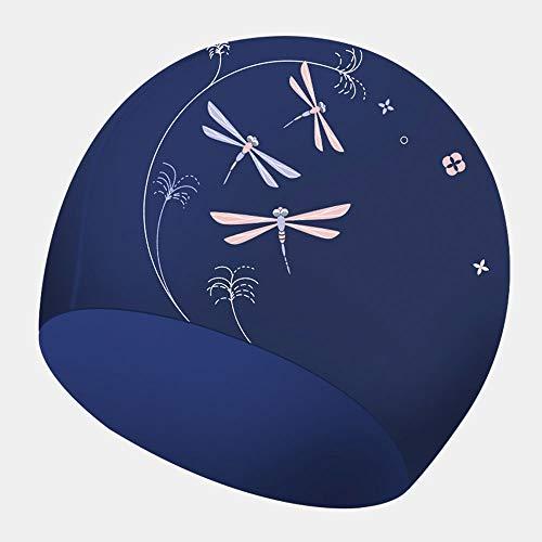 SSN Arbeiten Sie das Silikon um, das Lange Haare des weiblichen Schwimmenkappen-Gehörschutzes druckt, die große elastische wasserdichte Schwimmenkappe (Farbe : Blau)