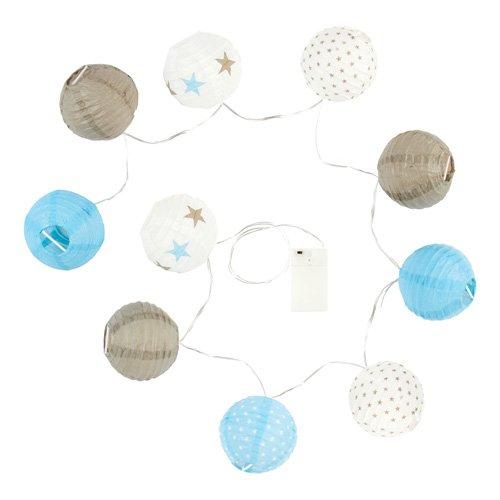 Guirlande lumineuse 10 boules LED taupe et bleu