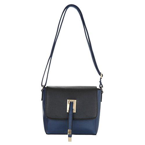 Ital-Design, Borsa a spalla donna blu/nero