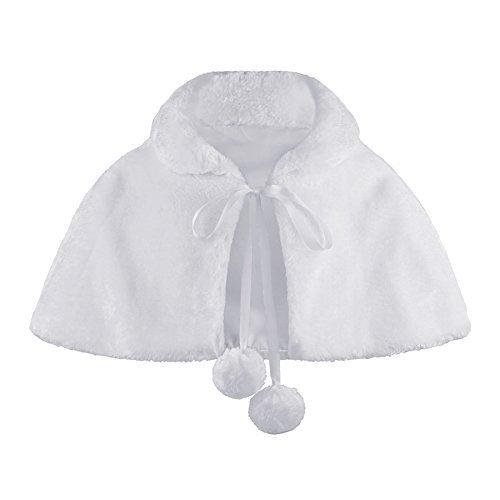 Ragazze pelliccia finta mantella damigella d'onore tippet pompom cravatta stola coprispalle - sintetico, bianco, 35% cotone 65% poliestere, unisex bambini, 5-6 years