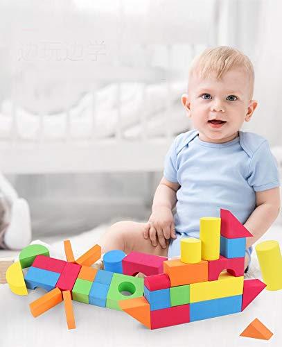 Z ZHIZU Weiche Schaumstoffe Baustein Stacking Kinder pädagogisches Spielzeug Weiche Eva Foam Bausteine der farbigen Ziegel Spielzeug Set (46 pcs)