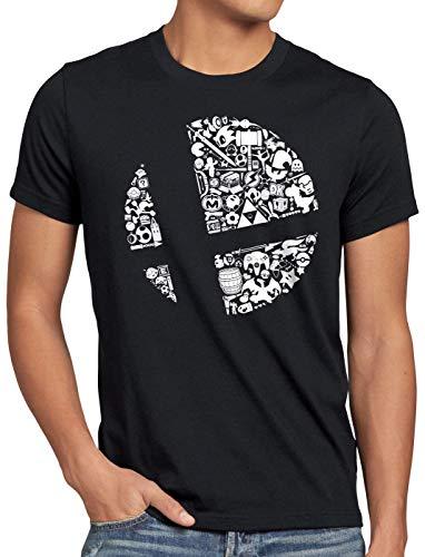 A.N.T. Brawler Herren T-Shirt Ultimate bros Switch, Größe:XL, Farbe:Schwarz (3ds Xl Mit Mario Party)