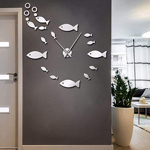 Mzdpp Fisch Mit Bubble DIYWanduhr Spiegeleffekt WandHome Decor Aquarium Dekoration Frameless Big Nadeluhr Watch Silber 37 Zoll