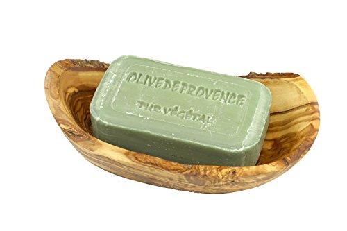 D.O.M. Seifenschale Rustikal aus Olivenholz mit Handgemachter pflanzlicher Seife Olive -