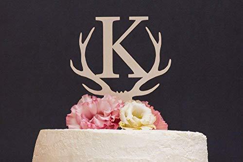 Personalisierte Hochzeitstorte Dekoration Hirsch Geweih Aufsatz Monogramm rustikal Single Letter Hochzeit Geschenk Ideen Jahrestag Party Dekoration